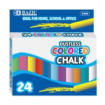 BAZIC Assorted Color Chalk, Blackboard Chalkboard 6 Colors Chalks, Great Game Activity for Kids, Art Teacher Office Classroom Store Home (24 pcs/Pack) (Case of 24)