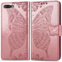 iPhone 8 Plus Wallet Case for Women,iPhone 7 Plus Case Wallet,Auker Butterfly Embossed Folio Flip Book Leather Kickstand Design Dual Magnet Slim fit Purse Cover with Card Holder/Money Pocket (RoGold)