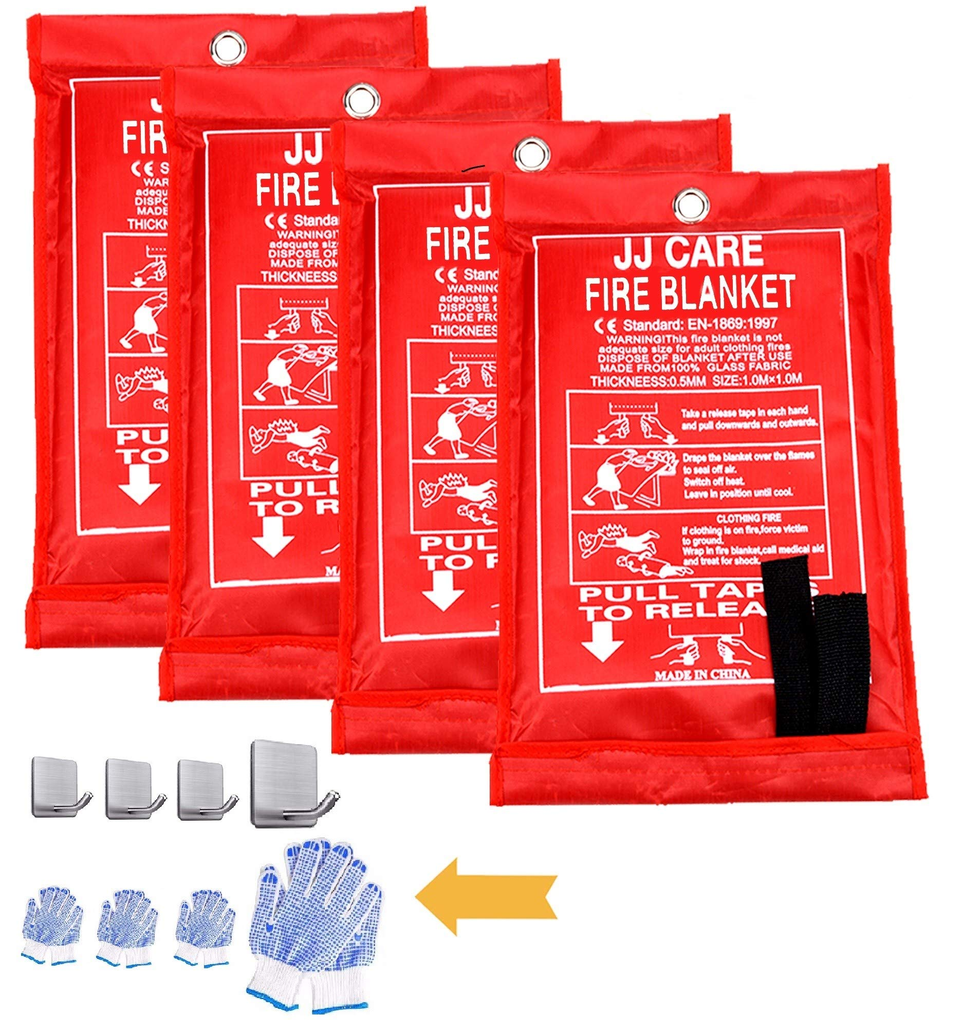"""JJ Care Fire Blanket 4 Pack Fire Fighting Suppression Blankets Fiberglass cloth (40""""x40"""") Flame Retardant fire safety blanket Emergency Survival kit with hooks & grips for Camping Kitchen & warehouse"""
