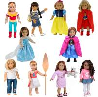 Dress Along Dolly 10 Unique Outfits Variety Pack for American Girl and Other 18 Inch Dolls - Over 30 Pcs - Shoes and Accessories Included