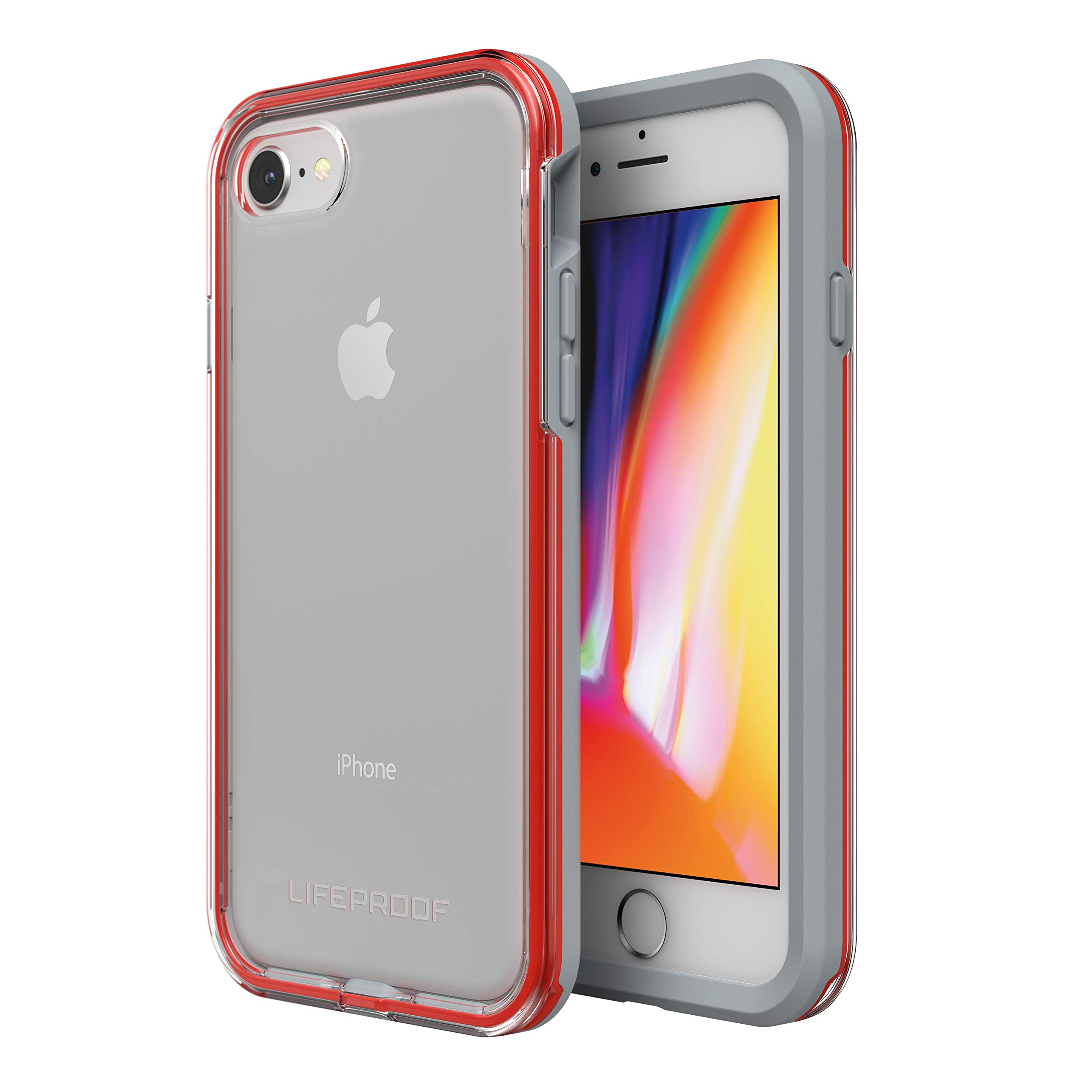 Lifeproof SLAM Series Case for iPhone SE (2nd gen - 2020) and iPhone 8/7 (NOT Plus) - Retail Packaging - Lava Chaser (Clear/Cherry Tomato/Sleet)
