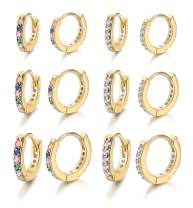 Jstyle 6Pairs Huggie Hoop Earring for Women Cubic Zirconia Earrings Rainbow CZ Multicolored Tiny Cartilage Tragus Helix Piercing Earrings