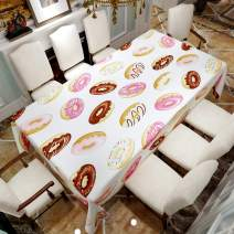 "VVA Rectangular Tablecloth - Glazed Doughnuts with Drizzle and Sprinkles, Tasty American Classic Dessert - Rectangle Table Cover for Dining Rooms and Kitchens, Indoor and Outdoor Events - 60"" x 102"""