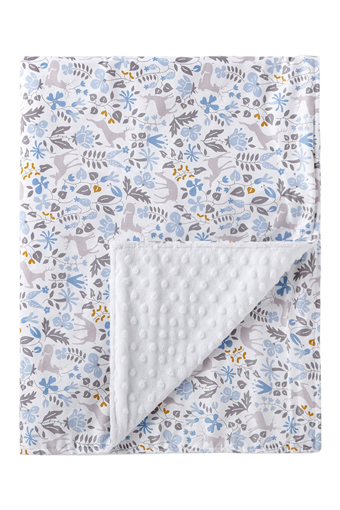 Super Soft Baby Printed Organic Cotton Mink Nursery Blanket with Dotted Plush Velboa Fabric Backing