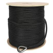 NovelBee 1/2 Inch X 600 Feet Double Braid Nylon Anchor Line with Stainless Steel Thimble and Wood Chuck
