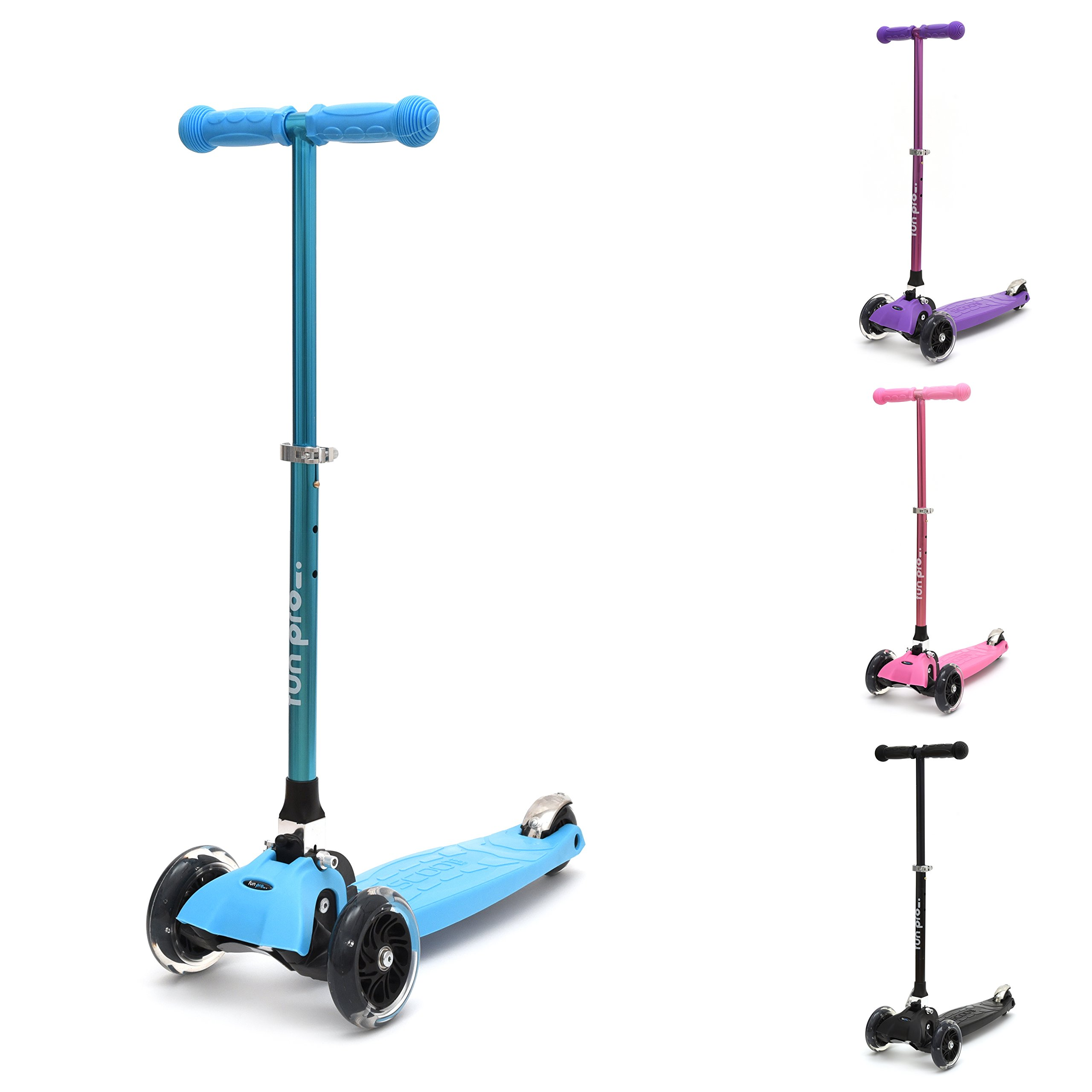 fun pro - Kick Scooter 3 Wheels for Toddlers and Kids - Light Up Three-Wheeled Foldable Micro Scooter for Girls & Boys w/ Bright Light LED Wheels   Best for Children from 2 to 7 Year Old