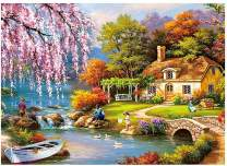 Jigsaw Puzzles 1000 Pieces for Adults and Kids, 1000 PC Jigsaw Puzzles Landscape Pattern Puzzle Set, Mini Puzzles for Adults Jigsaw, Country Scenery Painting, Family Games Home Decor 16.7X11.8 inch