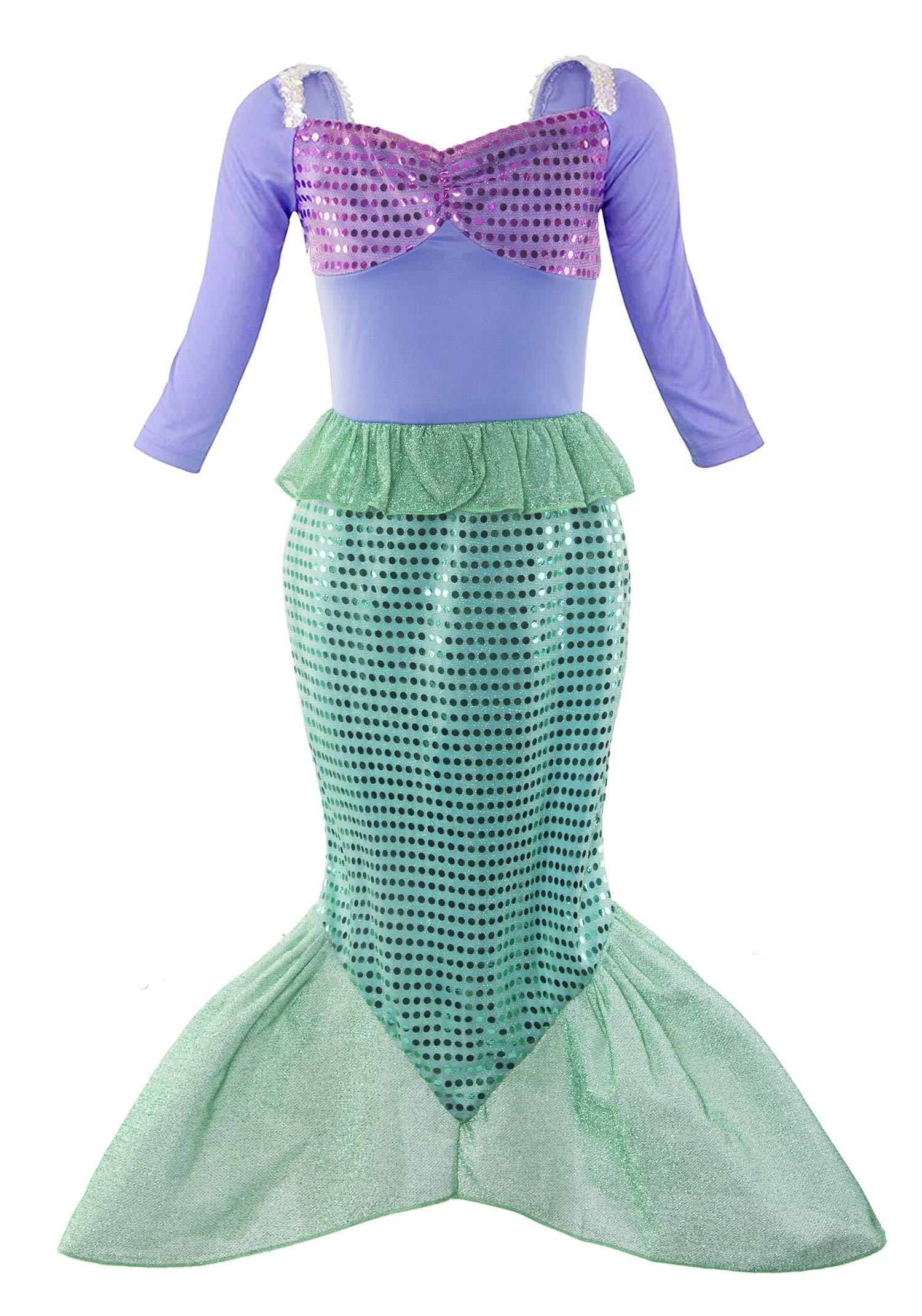 Padete Little Girl Mermaid Princess Costume Sequins Party Dress