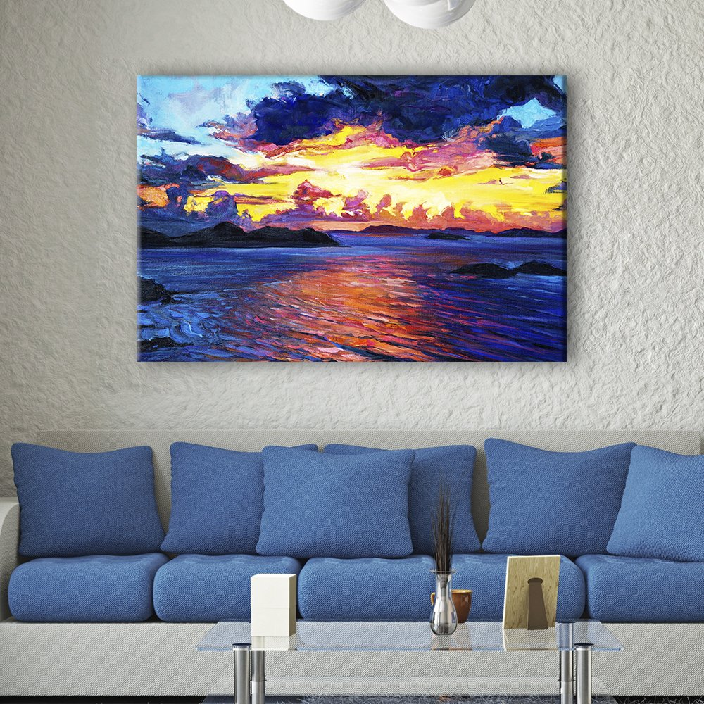 wall26 Canvas Wall Art - Oil Painting Style Colorful Seascape - Giclee Print Gallery Wrap Modern Home Decor Ready to Hang - 32x48 inches