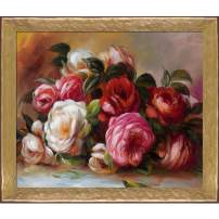 """La Pastiche RN2244-FR-58682020X24 Discarded Roses with Gold Luna Framed Hand Painted Oil Reproduction, 28"""" x 24"""", Multi"""