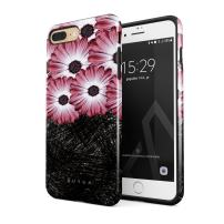 BURGA Phone Case Compatible with iPhone 7 Plus / 8 Plus - Pink Princess Gerbera Daisy Floral Pattern Cute Case for Girls Heavy Duty Shockproof Dual Layer Hard Shell + Silicone Protective Cover