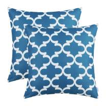 CaliTime Pack of 2 Soft Canvas Throw Pillow Covers Cases for Couch Sofa Home Decor Modern Quatrefoil Accent Geometric 20 X 20 Inches Sea Blue