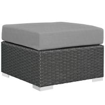 Modway EEI-1855-CHC-GRY Sojourn Outdoor Patio Sunbrella Ottoman in Canvas Gray
