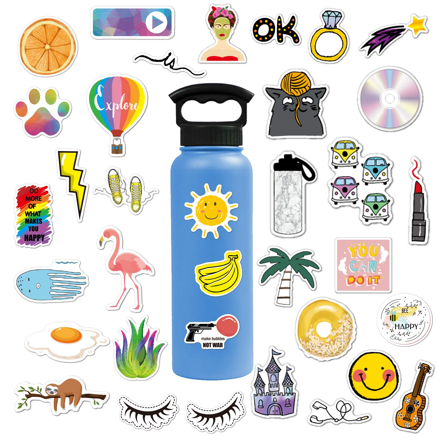 92 Pcs VSCO Stickers for Hydro Flask Waterproof Aesthetic Stickers for Teens,Girls,Boys,Travel Case, Refrigerator, Bicycle Vinyl Decal