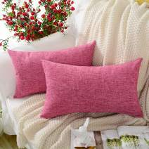 MERNETTE New Year/Christmas Decorations Cotton Linen Blend Decorative Rectangle Throw Pillow Cover Cushion Covers Pillowcase, Home Decor for Party/Xmas 12x20 Inch/30x50 cm, Pink Purple, Set of 2