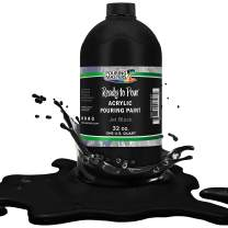 Pouring Masters Jet Black Acrylic Ready to Pour Pouring Paint – Premium 32-Ounce Pre-Mixed Water-Based - for Canvas, Wood, Paper, Crafts, Tile, Rocks and More
