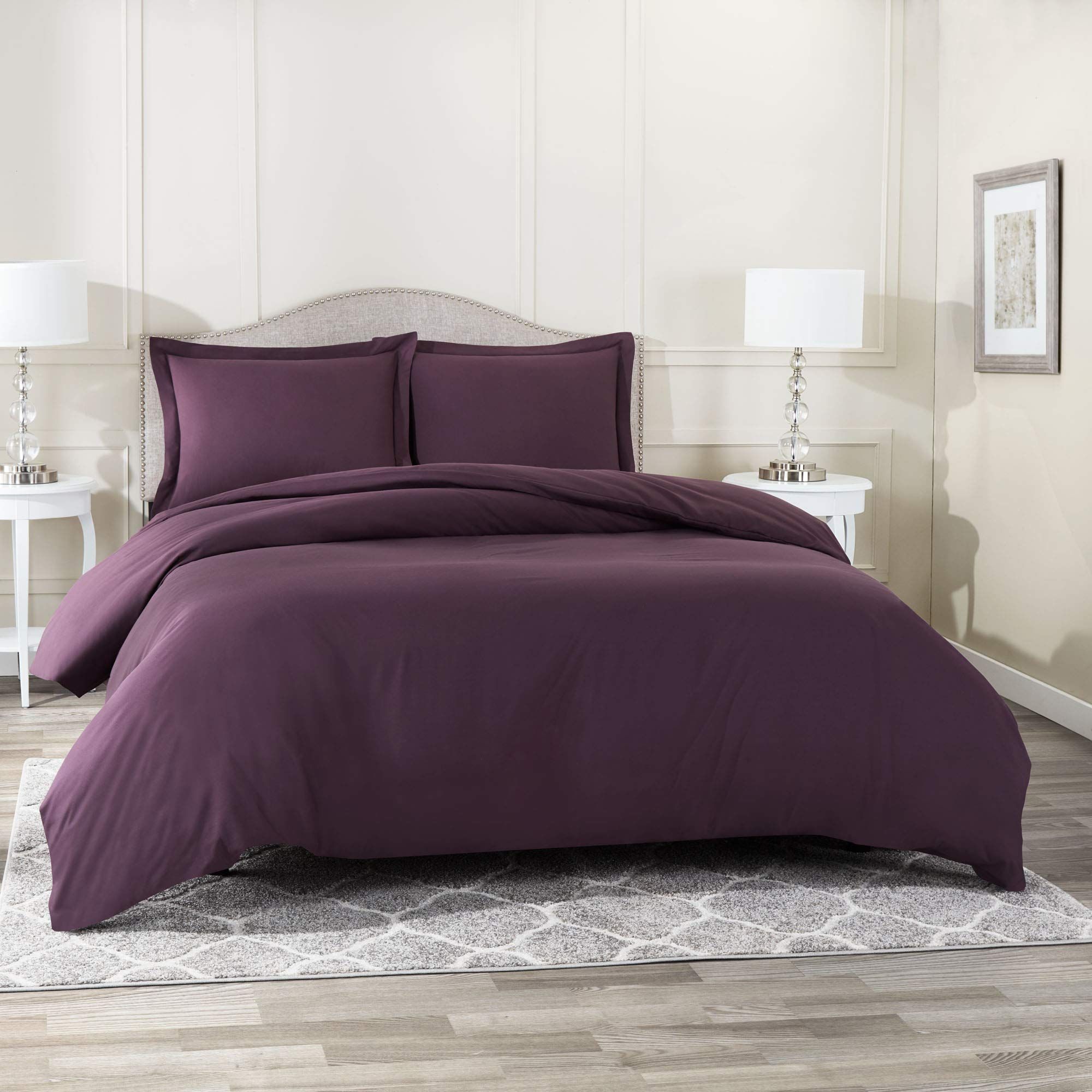 Nestl Bedding Duvet Cover with Fitted Sheet 3 Piece Set - Soft Double Brushed Microfiber Hotel Collection - Comforter Cover with Button Closure, Fitted Sheet, 1 Pillow Sham, Twin - Eggplant Purple
