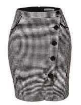 GLOSTORY Women's High Waist Fall Winter Above Knee Length Mini Thick Plaid Pencil Skirts with Pockets 1810 (L,Black Plaid)