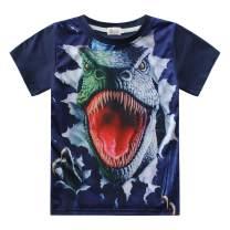 Kids Boys Tees Dinosaur Short Sleeve 3D Shirts Summer Toddler Cotton Crewneck Tops T Shirt