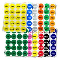 """1"""" Round - 3600 Labels Bundle 12 Months of The Year Labels Color Coding Dot Round Self Adhesive Stickers - 15 Sheets Each / 300 Labels per Pack"""