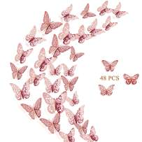 Crosize 48Pcs 3D Rose Gold Butterfly Wall Décor 3 Sizes Butterfly Decorations Butterfly Party Cake Decorations 3D Butterfly Stickers Decals for Girls Kids Baby Bedroom Bathroom Living Room Birthday