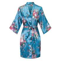 Old-to-new Women's Floral Short Kimono Robe Bride Bridesmaid Satin Nightgown Bathrobe