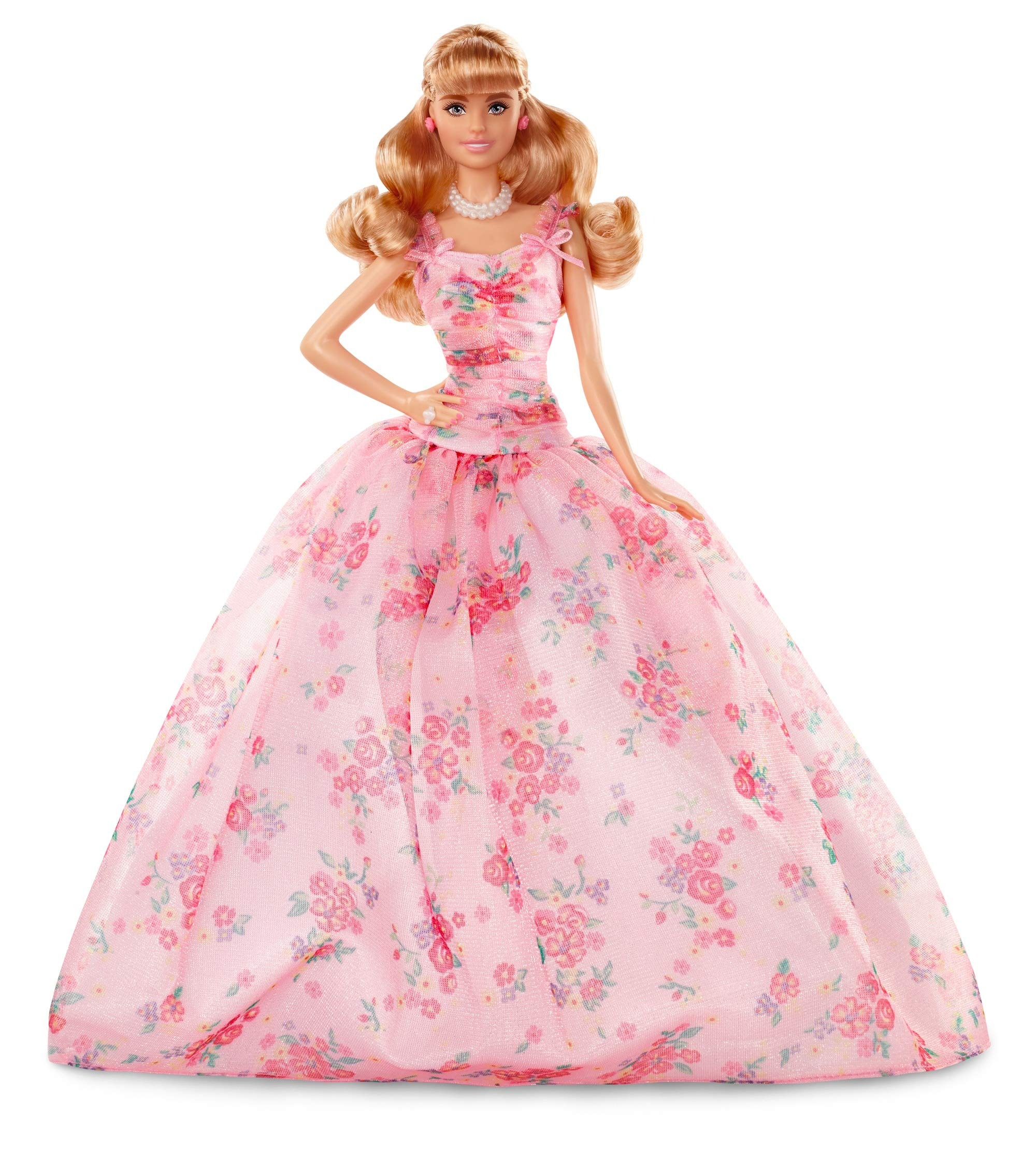 Barbie Collector: Birthday Wishes Doll with Blonde Hair, 11.5-Inch, Wearing Floral Gown, with Doll Stand and Certificate of Authenticity, Makes A Great Gift for 6 Year Olds and Up