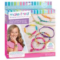 Make It Real – Crystal Rainbow Jewelry - DIY Bead Bracelet Kit for Girls - Jewelry Making Kit with Beads and Charms - Arts and Crafts to Design Colorful Bracelets