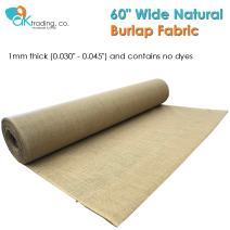 """AK-Trading 60"""" Wide Hessian Natural Jute Decoration Burlap Fabric (60"""" x 4 Yards), for Arts, Crafts, Interior Design Projects"""