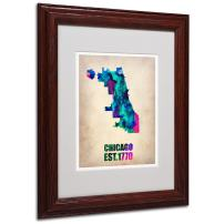 Chicago Watercolor Map by Naxart Matted Framed Art, 11 by 14-Inch, Wood Frame