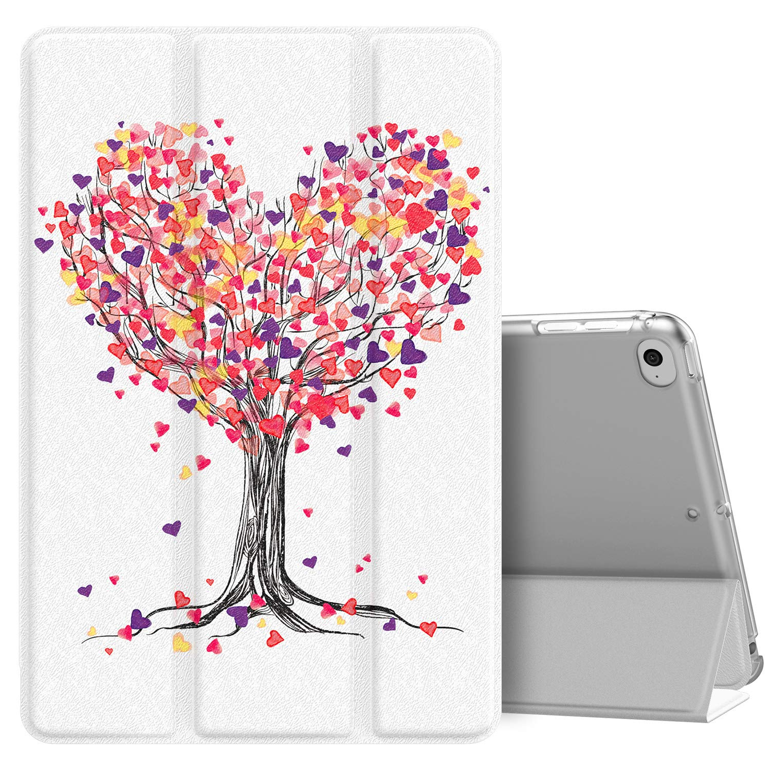 MoKo Case Fit New iPad Mini 5 2019 (5th Generation 7.9 inch), Slim Lightweight Smart Shell Stand Cover with Translucent Frosted Back Protector, with Auto Wake/Sleep - Love Tree
