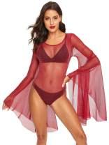 Romwe Women's Sexy Backless Bell Sleeve Glitter Sheer Mesh Bodysuit