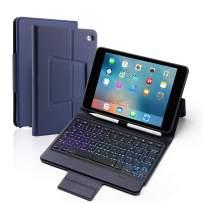 Eisuiyi iPad mini5/mini4 Keyboard PU Folio Stand Cover with Pencil Holder Sleep/Wake, Blue/Mixed Color Backlight, Full Protection Bluetooth Keyboard Case for iPad Mini 5th Gen 2019/iPad mini4 (Blue)
