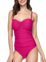 Spicy Sandia One Piece Swimsuits Ruched Tummy Control Bathing Suit for Women