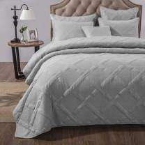 Tache Cotton Solid Light Grey Silver Soothing Pastel Soft Geometric Diamond Stitch Pattern Lightweight Quilted Bedspread 2 Piece Quilt Set, Twin