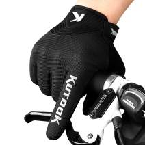 KUTOOK Cycling Gloves Full Finger Touch Screen Wear Resistant with Shock Absorbing Pad Bike Gloves Men for MTB Road