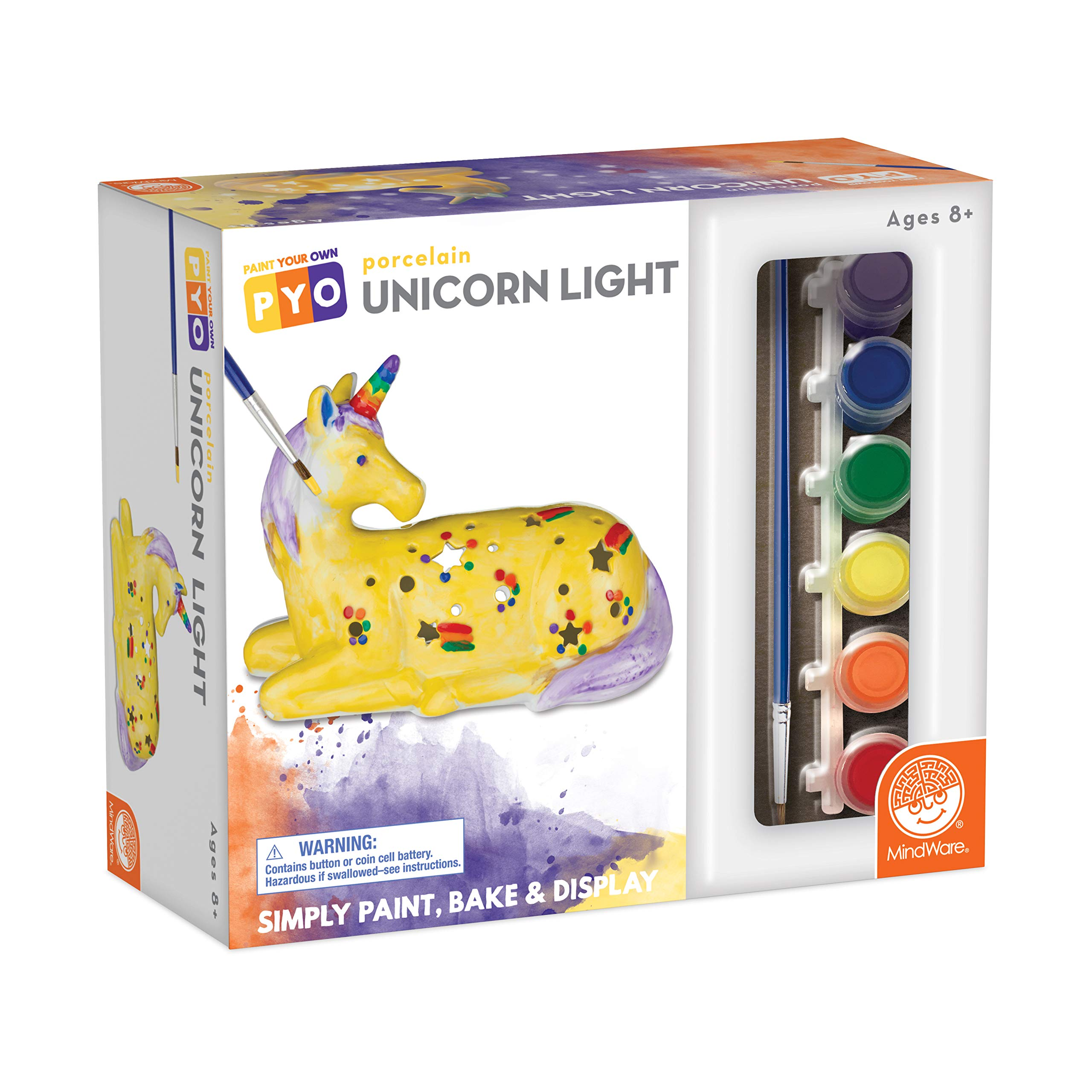 MindWare Paint Your Own Porcelain: Unicorn Light with 2 Tea Lights, 12 Paints & 2 Brushes - Creative paintable Pottery Crafts & Gift Kits for Kids
