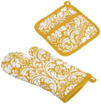 "DII Cotton Damask Oven Mitt 12 x 6.5"" and Pot Holder 8.5 x 8"" Kitchen Gift Set, Machine Washable and Heat Resistant for Cooking and Baking-Mustard"