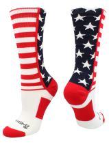 MadSportsStuff USA American Flag Stars and Stripes Crew Socks