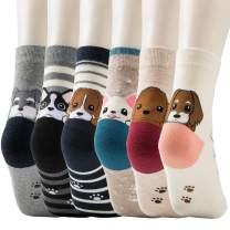 6 Pairs Ladies/Womens Cute Animals Socks for Girls Cotton Novelty Funky Casual Dog Crew Funny Socks