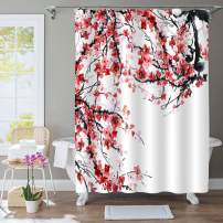 "MitoVilla Asian Watercolor Plum Shower Curtain, Oriental Traditional Painting Plum Florals and Tree Braches Artwork for Japanese and Chinese Themd Bathroom, Red, Black, White, 72"" W x 78"" L Long"
