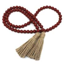 CVHOMEDECO. Wood Beads Garland with Tassels Farmhouse Rustic Wooden Prayer Bead String Wall Hanging Accent for Home Festival Decor. Burgundy