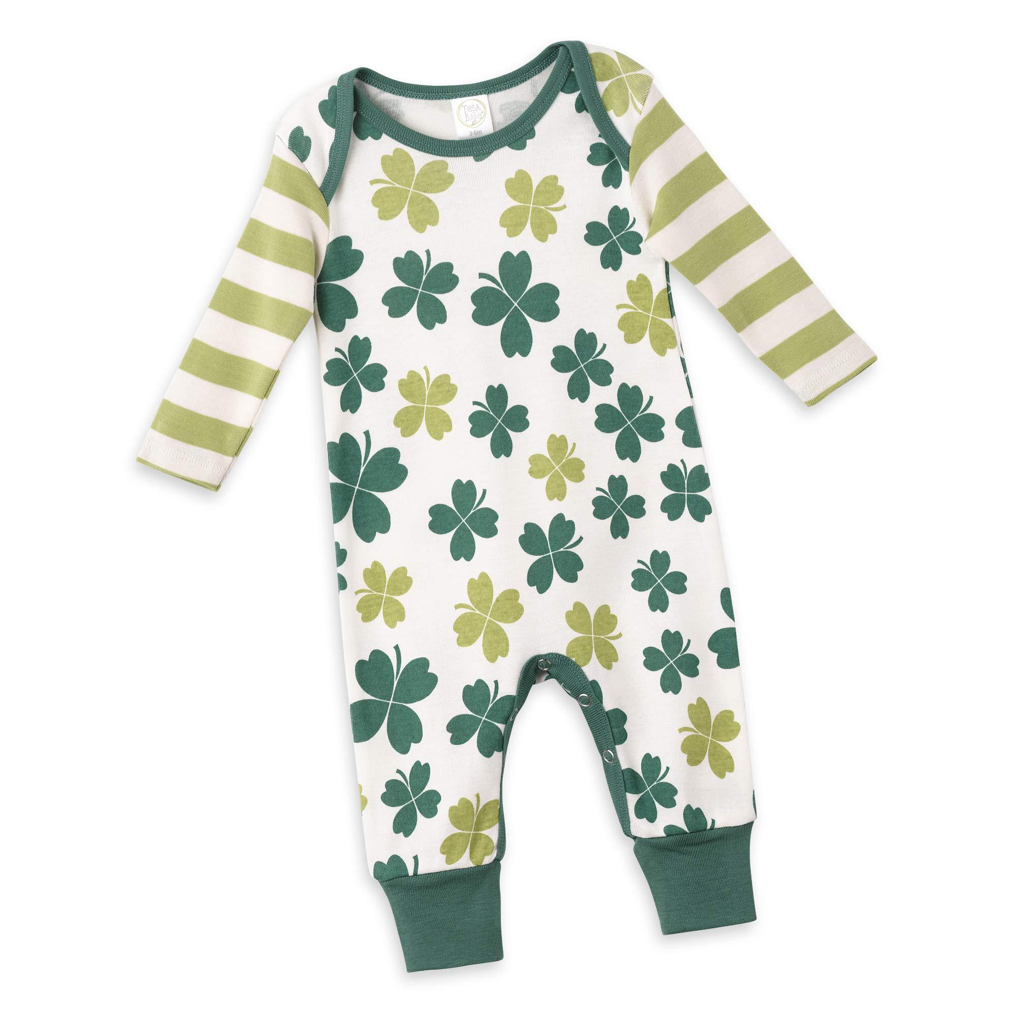 Tesa Babe Irish Baby Romper with Shamrocks for St Patrick's Day Newborn Baby to Toddlers, Multi