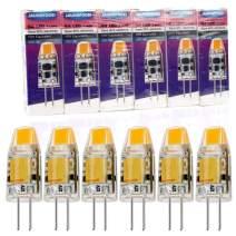 JAUHOFOGEI 6pcs G4 Bi-Pin Base 1W LED Bulbs, 12V AC DC, 10W Glass Halogen Light Bulb Replacement, Warm White 2800K, JC T3 for Under Cabinet Puck Light, Landscape Lighting