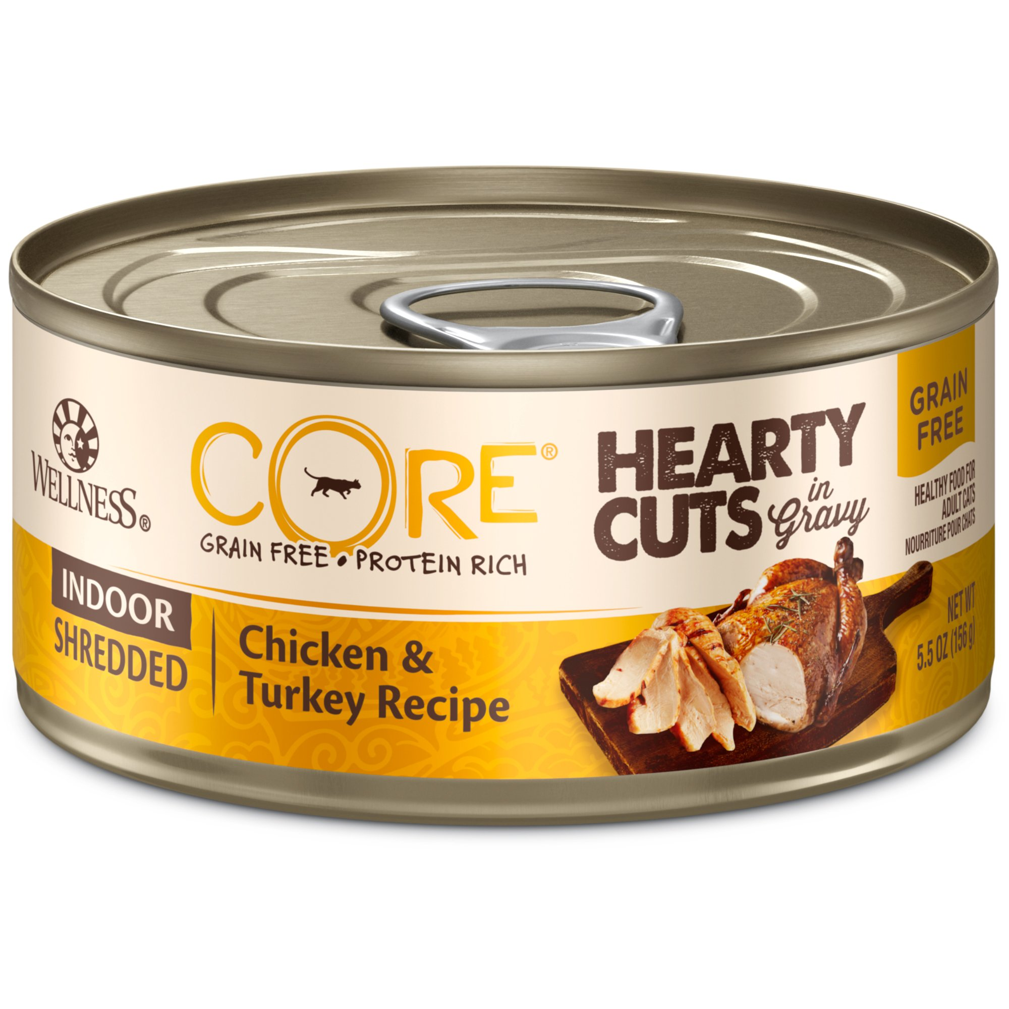 Wellness Core Hearty Cuts Natural Canned Grain Free Wet Cat Food, 5.5-Ounce Can (Pack Of 24)