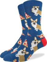 Good Luck Sock Men's Corgi Pizza Crew Socks - Blue, Shoe Size 7-12