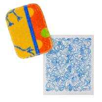 Wet-it Bundle Skrubba New European Scrubby Non-Scratching Scouring Pad and Wet-It! Dishcloth (Combo, Set of 2)