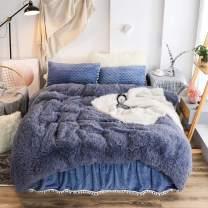 LIFETOWN Plush Shaggy Duvet Cover King Velvet Bedding Duvet Cover Only (No Pillowcases or Comforter), Ultra Soft and Comfy (King, Navy Blue)