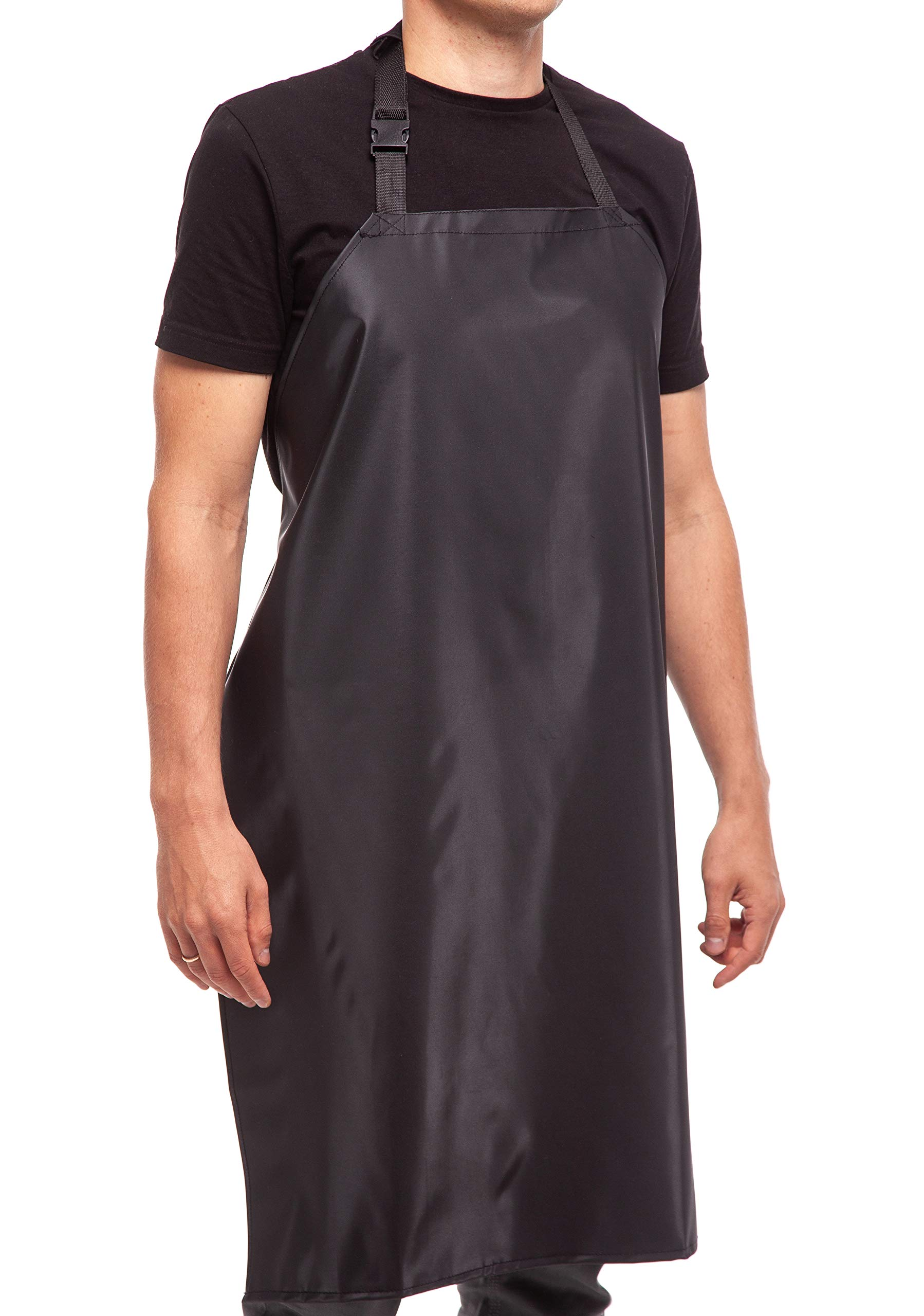 """Waterproof Rubber Vinyl Apron - 35"""" Light Duty Model - Best for Staying Dry When Dishwashing, Lab Work, Butcher, Dog Grooming, Cleaning Fish, Projects - Industrial Chemical Resistant Plastic"""