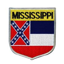State Flag Shield Mississippi Patch Badge Travel Embroidered Iron On Applique